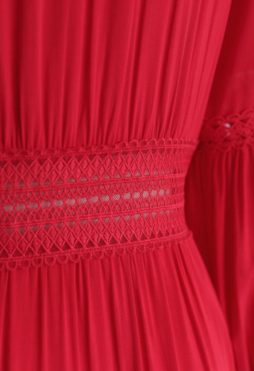 刺繍マキシワンピース レッド