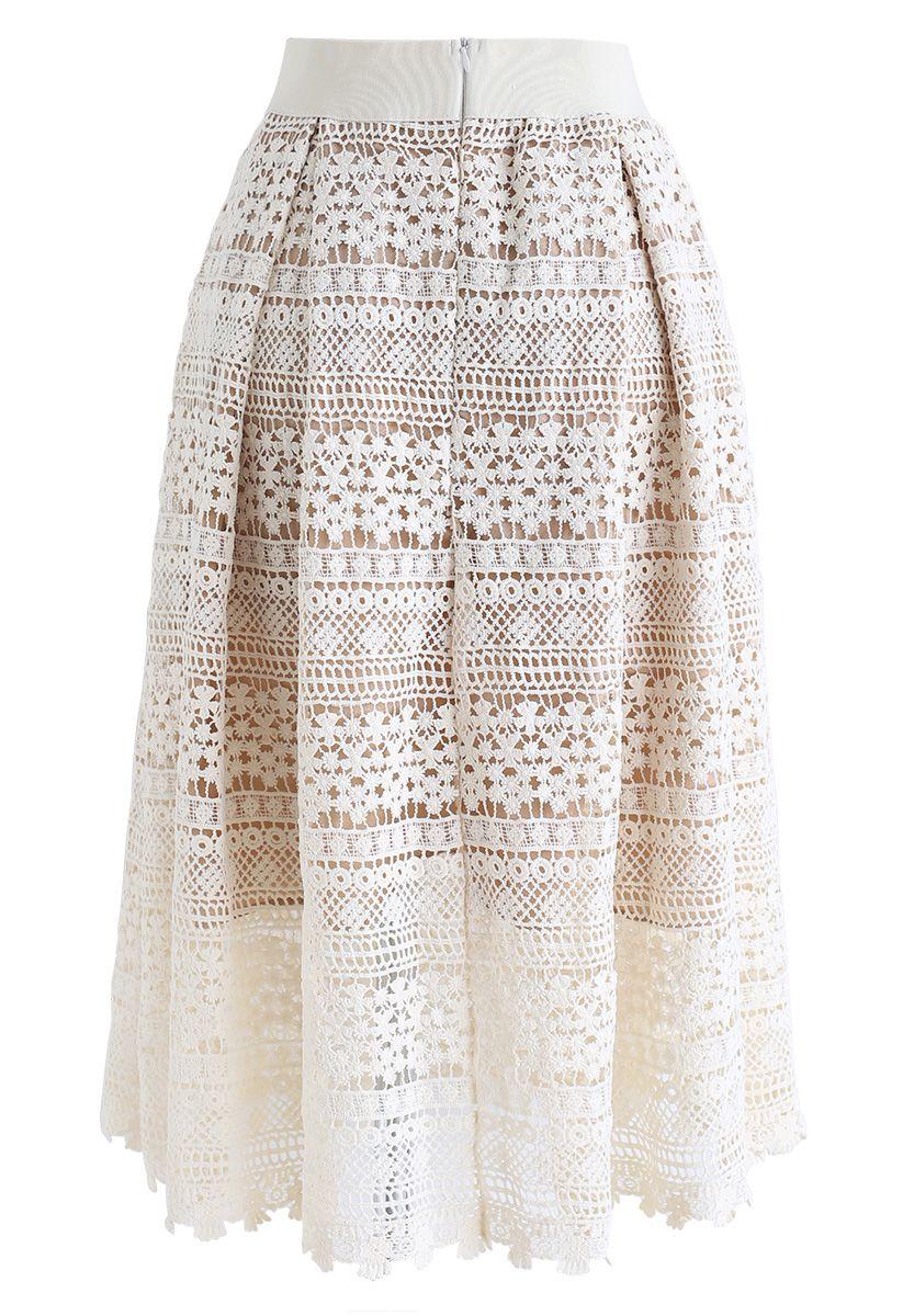 花柄クロッシェレーススカート アイボリー