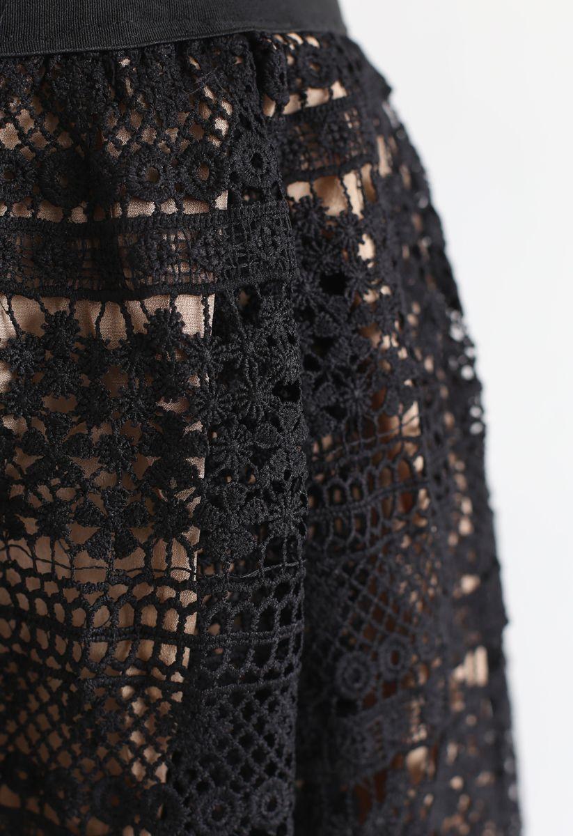 花柄クロッシェレーススカート ブラック
