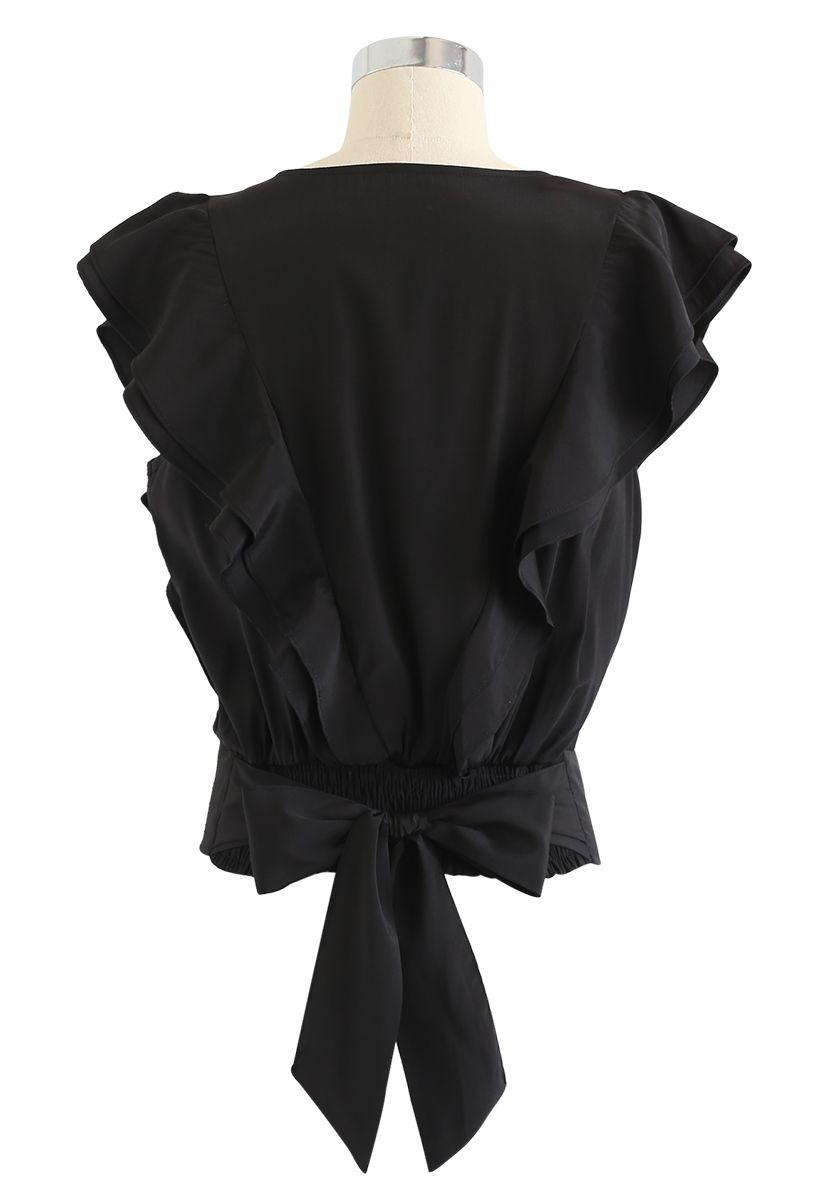 ノースリーブラッフルトップス ブラック