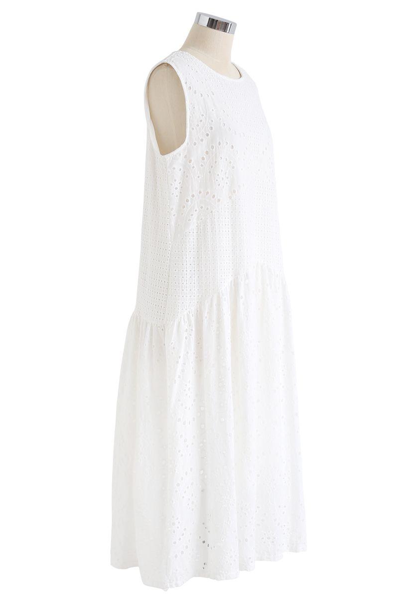 刺繍ノースリーブワンピース ホワイト