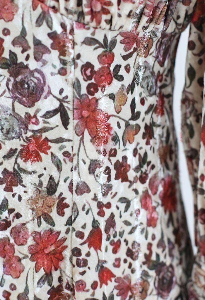 パフスリーブ花柄ベルベットワンピース