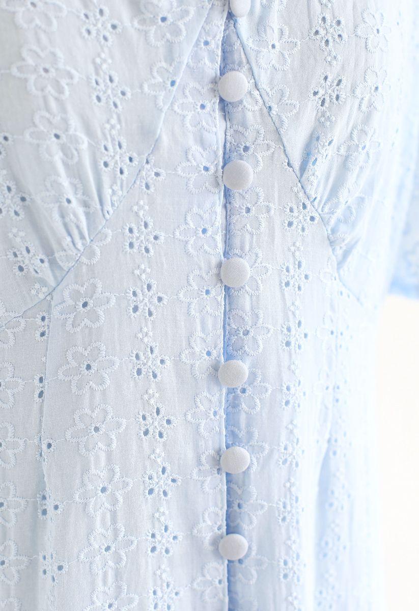 アイレット刺繍ボタンダウンワンピース ブルー