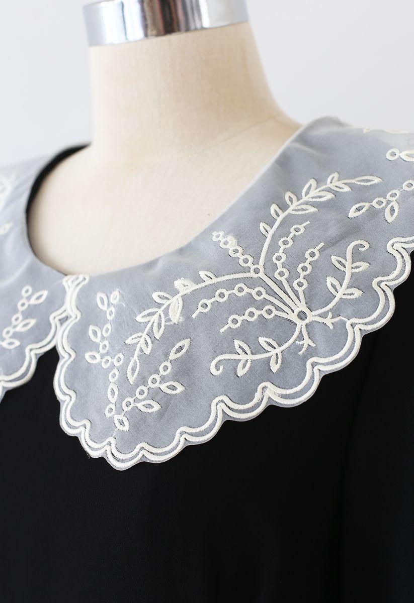 刺繍ピーターパンカラーシフォンワンピース ブラック