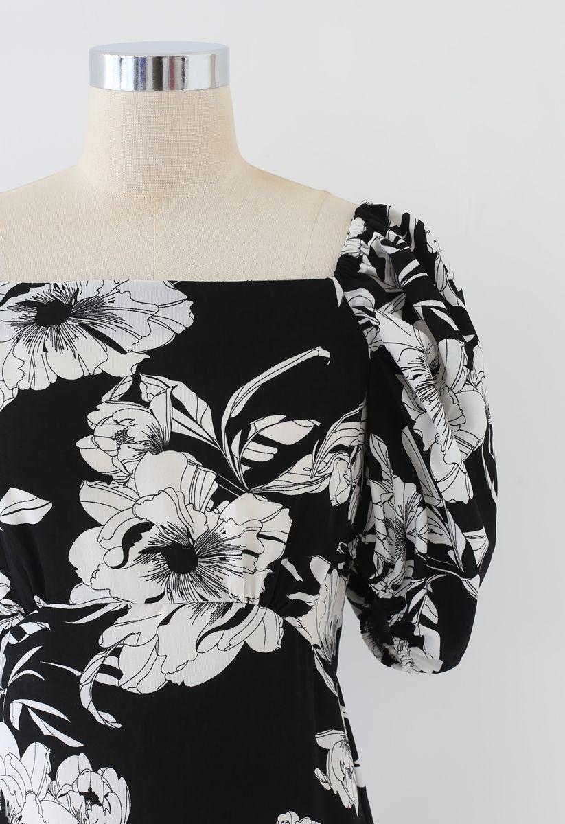 花柄ワンピース ブラック