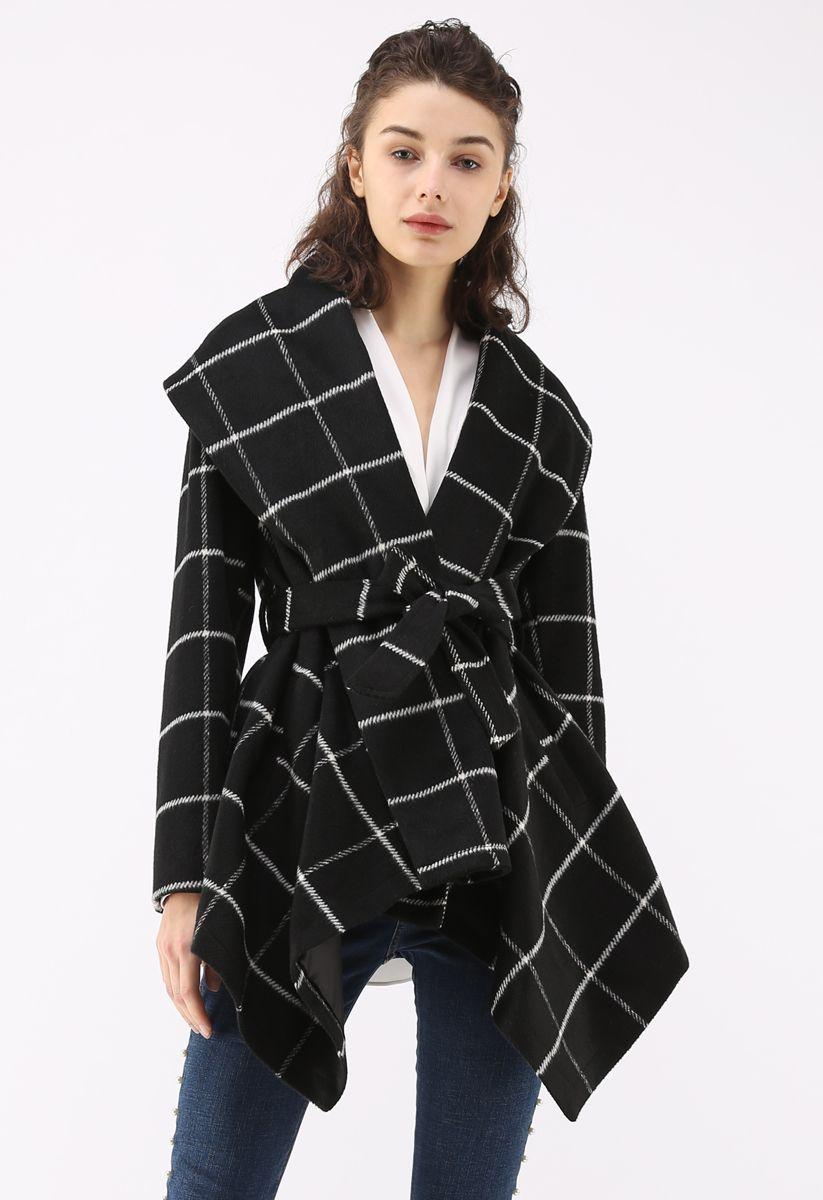 グリッド柄ベルト付きコート ブラック