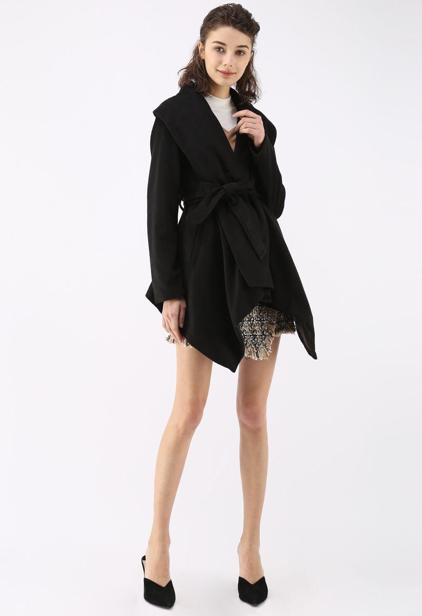ベルト付きコート ブラック