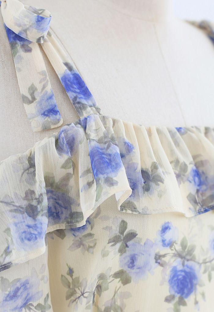 花柄ラッフルシフォンワンピース
