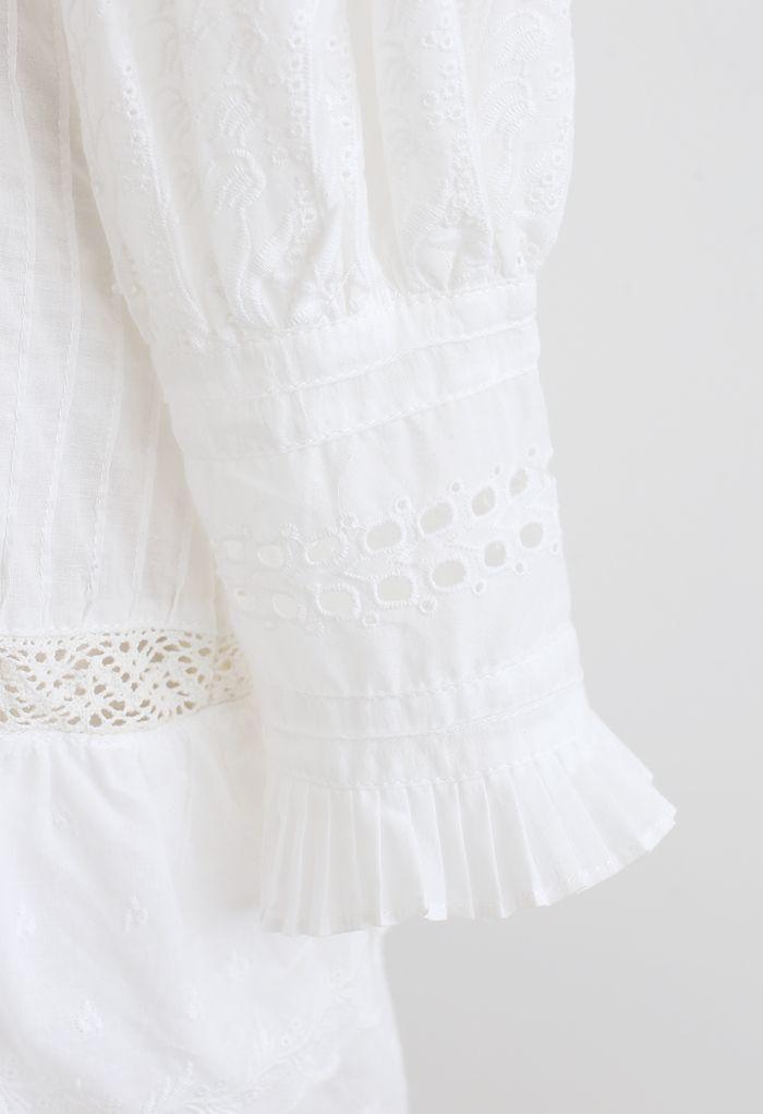 刺繍アイレットティアードワンピース