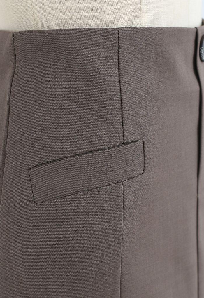 ポケット付きスカート ブラウン