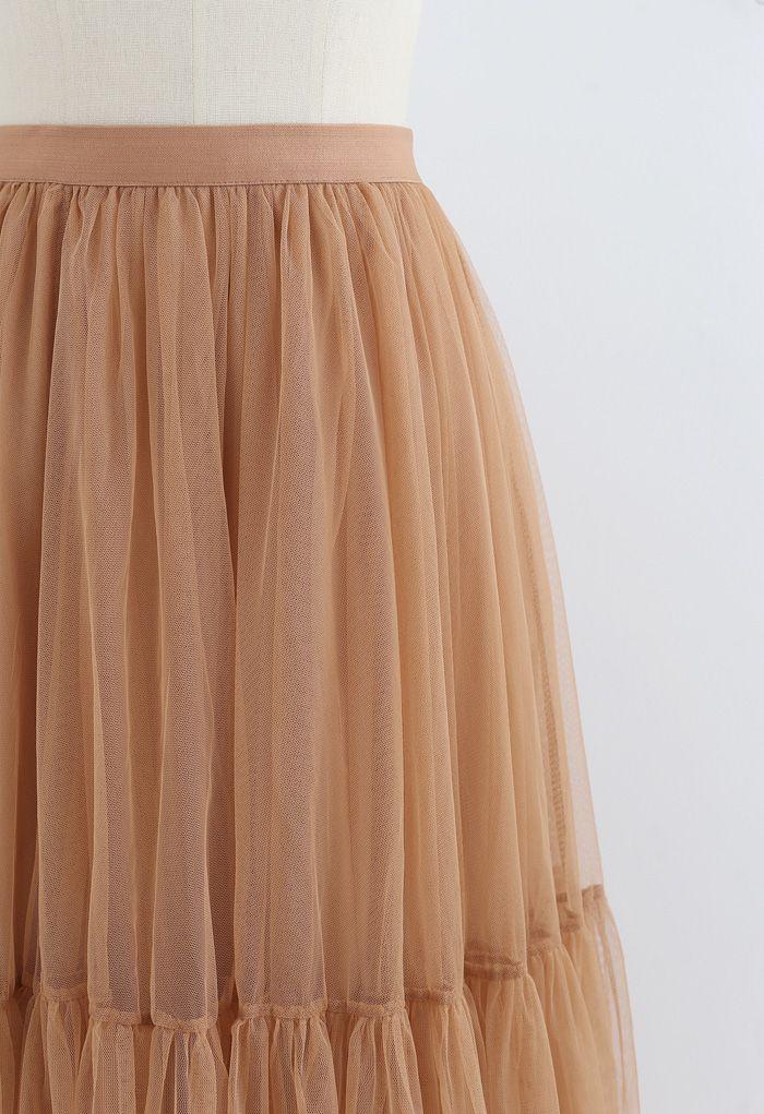 メッシュチュールスカート オレンジ