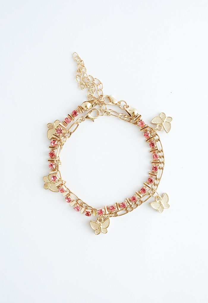 2 Packs Cubic Zirconia and Butterfly Chain Bracelets