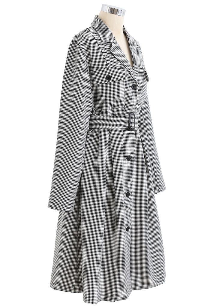 千鳥格子ベルト付きコート ブラック