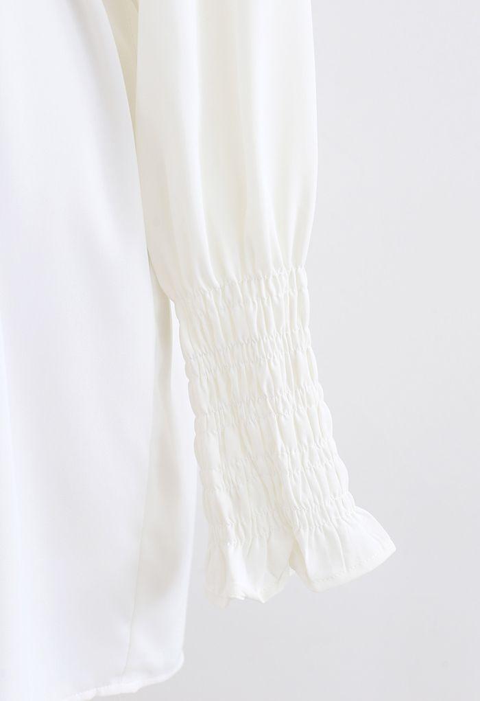 ベルト付きシャツワンピース ホワイト