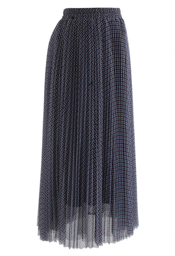 ギンガムダブルレイヤードプリーツメッシュスカート ネイビー