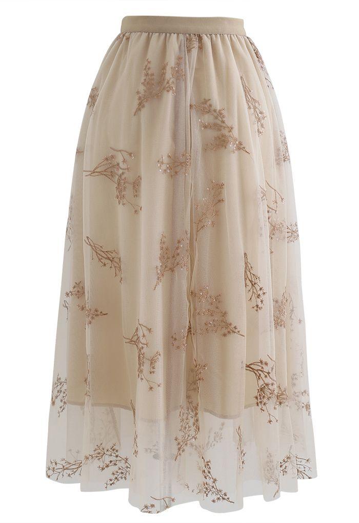 シークイン付き花柄刺繍メッシュスカート ベージュ