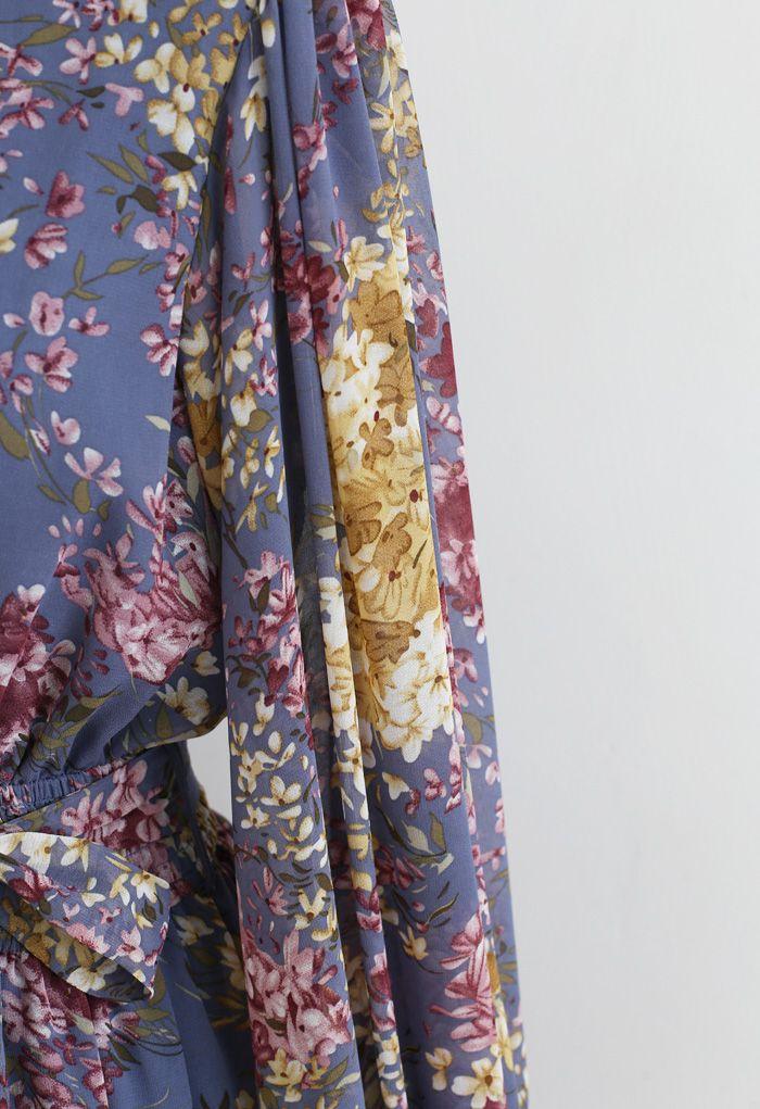 花柄パフスリーブフリルワンピース ラベンダー