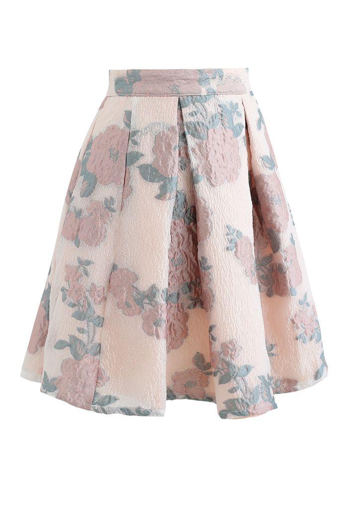 ローズジャカードオーガンザプリーツスカート
