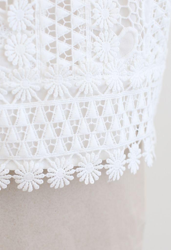 パネル花柄クロップトップス ホワイト
