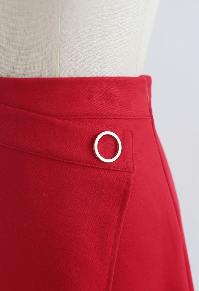 ディテールアシンメトリー裾ミニスカート レッド