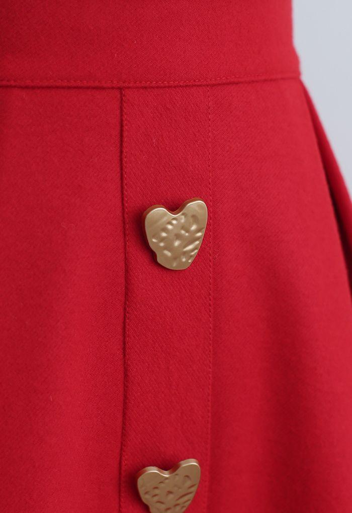 ハート型ボタン付きAラインスカート レッド