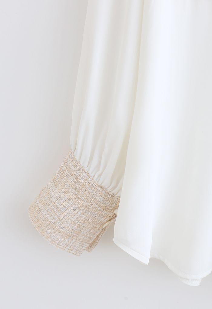 テクスチャードスプライスボタンシャツ ホワイト
