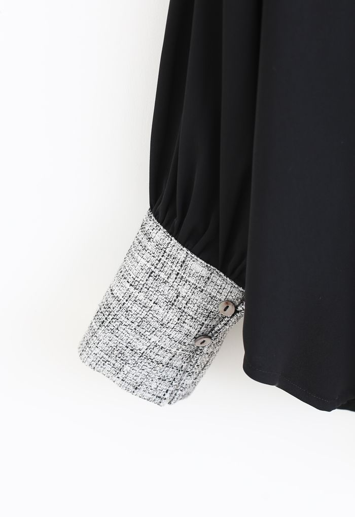 テクスチャードスプライスボタンシャツ ブラック