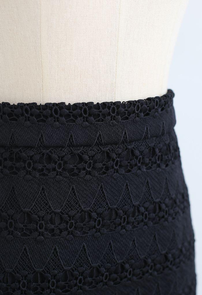 スクロールヘムクロッシェレーススカート ブラック