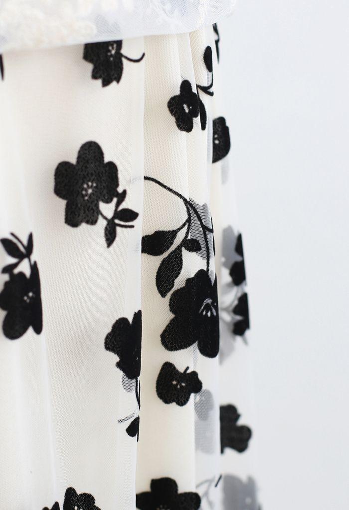 3D花柄刺繍ダブルレイヤードメッシュマキシスカート