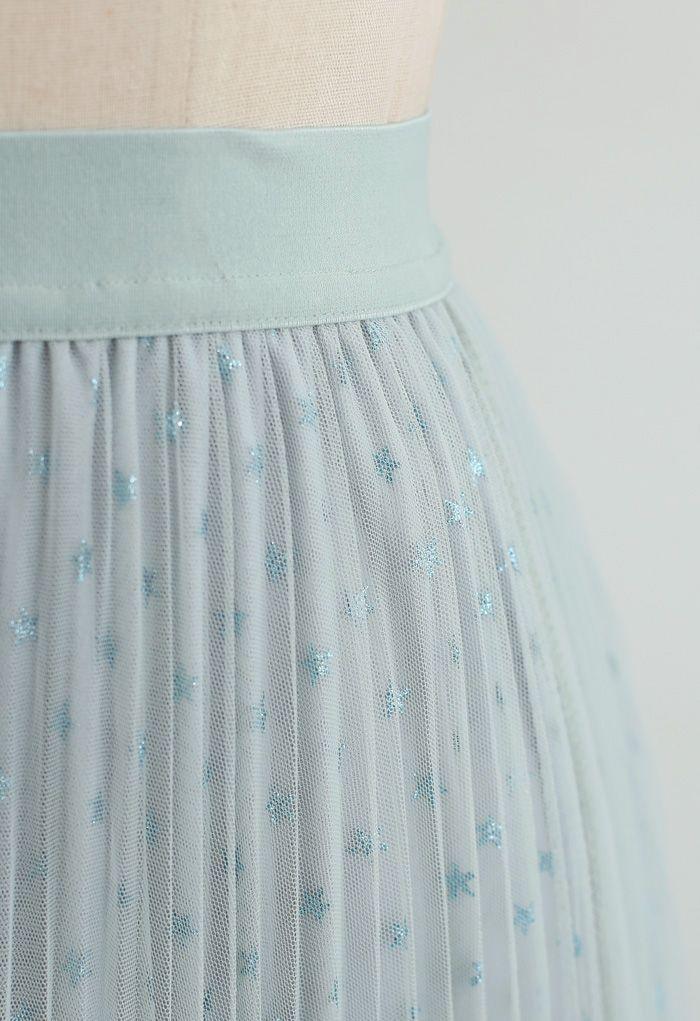 星柄ダブルレイヤードプリーツスカート ミント