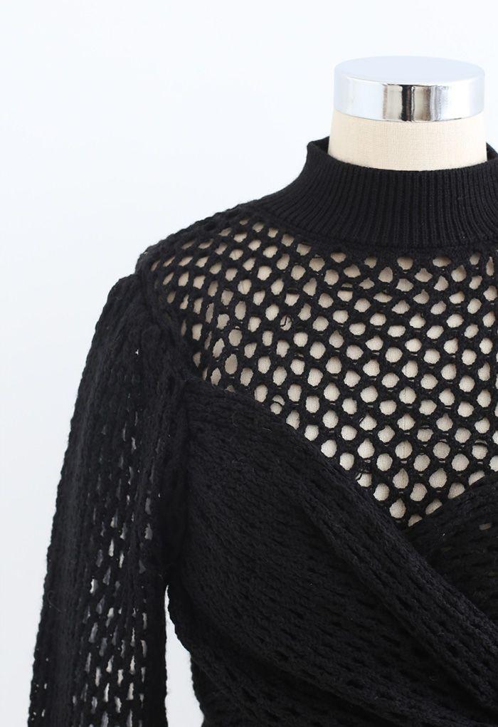 ホロウアウトラップボウノットクロップセーター ブラック
