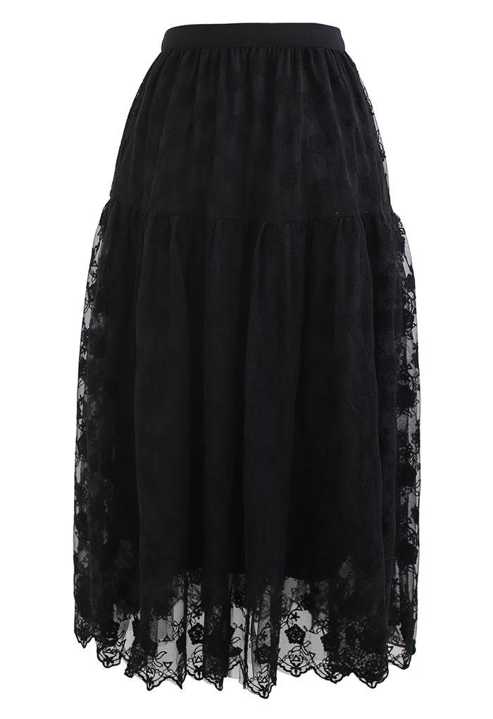 花柄オーガンザオーバーレイメッシュスカート ブラック