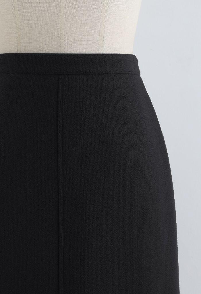スプリットファジーリブスカート ブラック