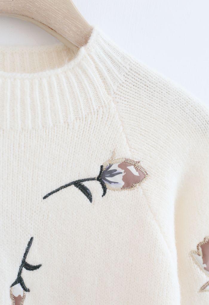 花柄刺繡セーター アイボリー