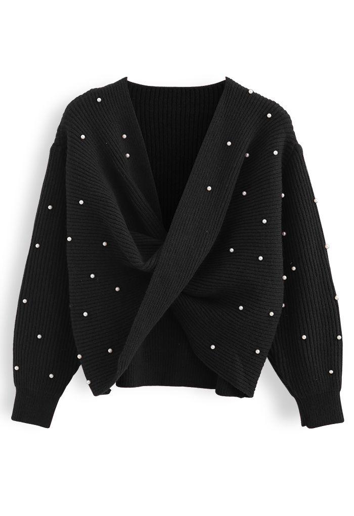 ツイストパール付きセーター ブラック