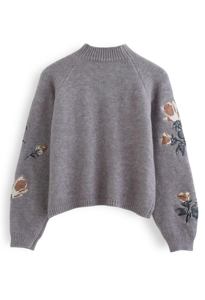 花柄刺繡セーター グレー