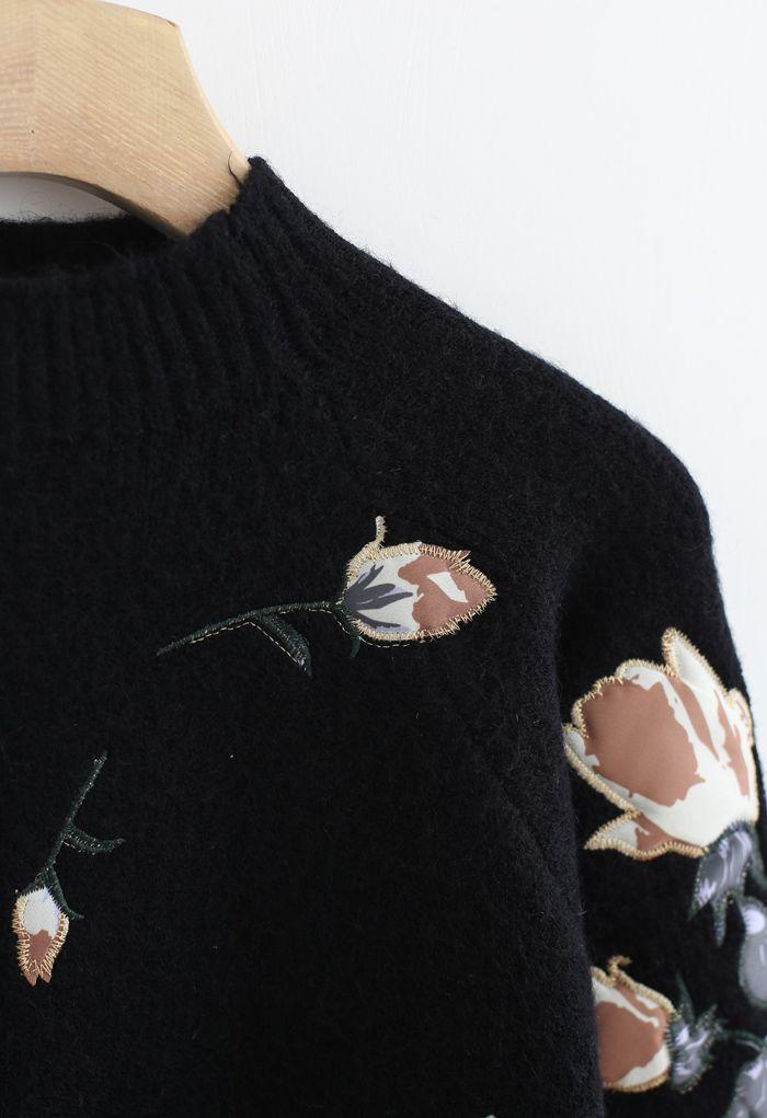 花柄刺繡セーター ブラック
