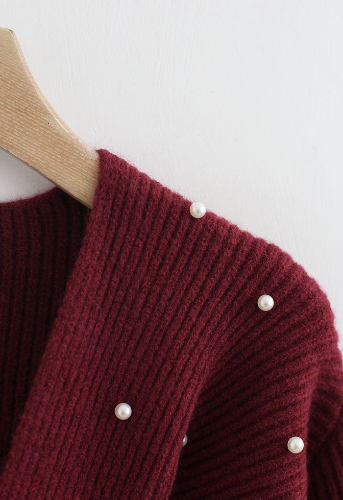 ツイストパール付きセーター ワインレッド