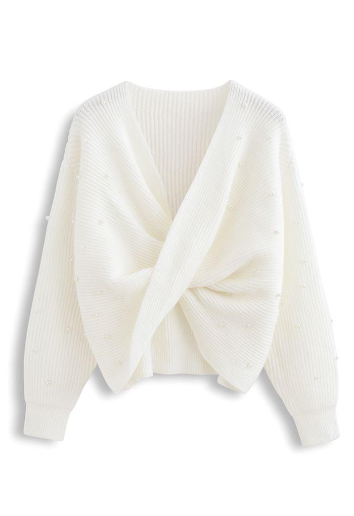 ツイストパール付きセーター ホワイト
