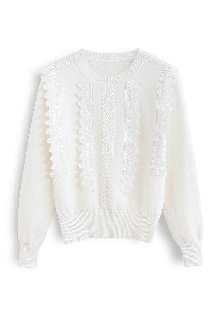 クロッシェレースセーター ホワイト