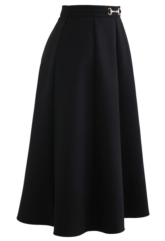 ホースビット付きフレアスカート ブラック