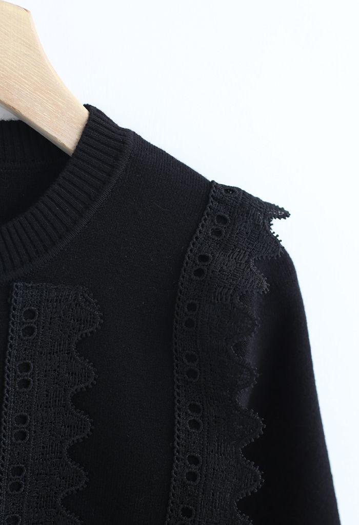 クロッシェレースセーター ブラック