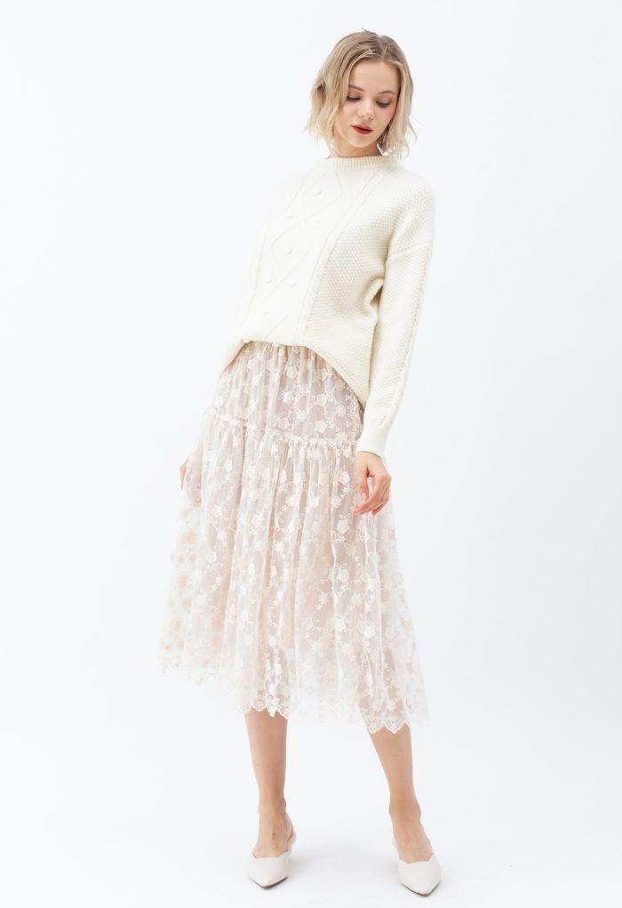 花柄オーガンザオーバーレイメッシュスカート アイボリー