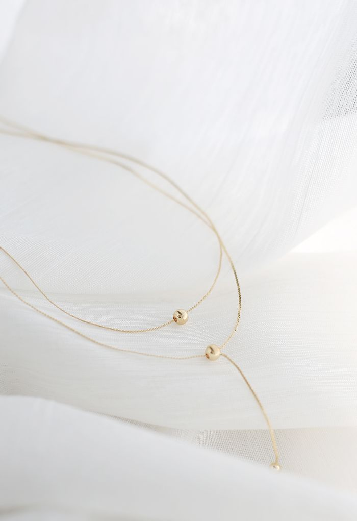 Drop Balls Double Layer Gold Necklace