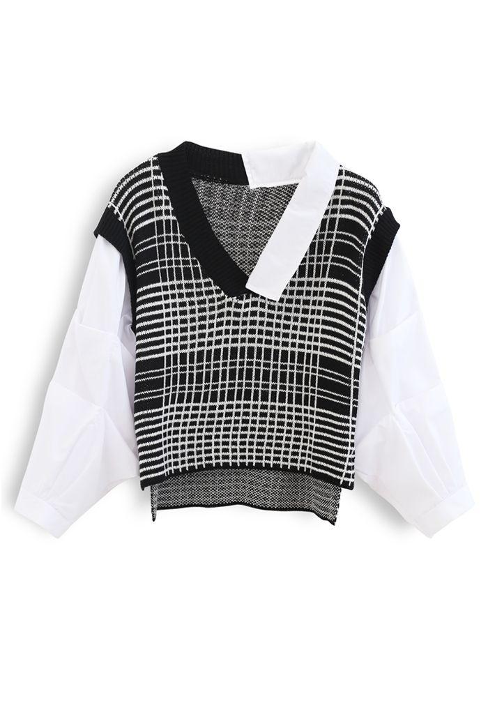 バブルスリーブスプライシングシャツセーター ブラック