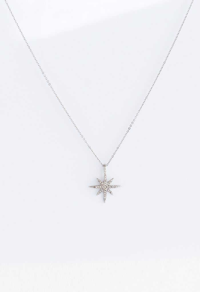 Diamond Star Silver Necklace