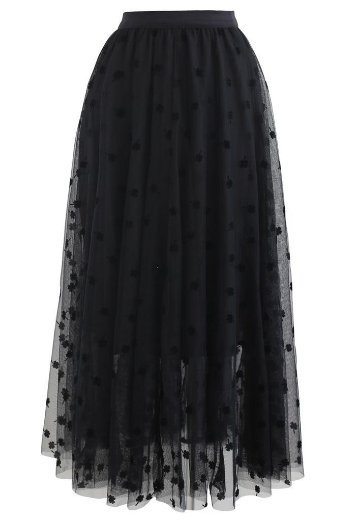 3Dクローバーダブルレイヤードメッシュスカート ブラック