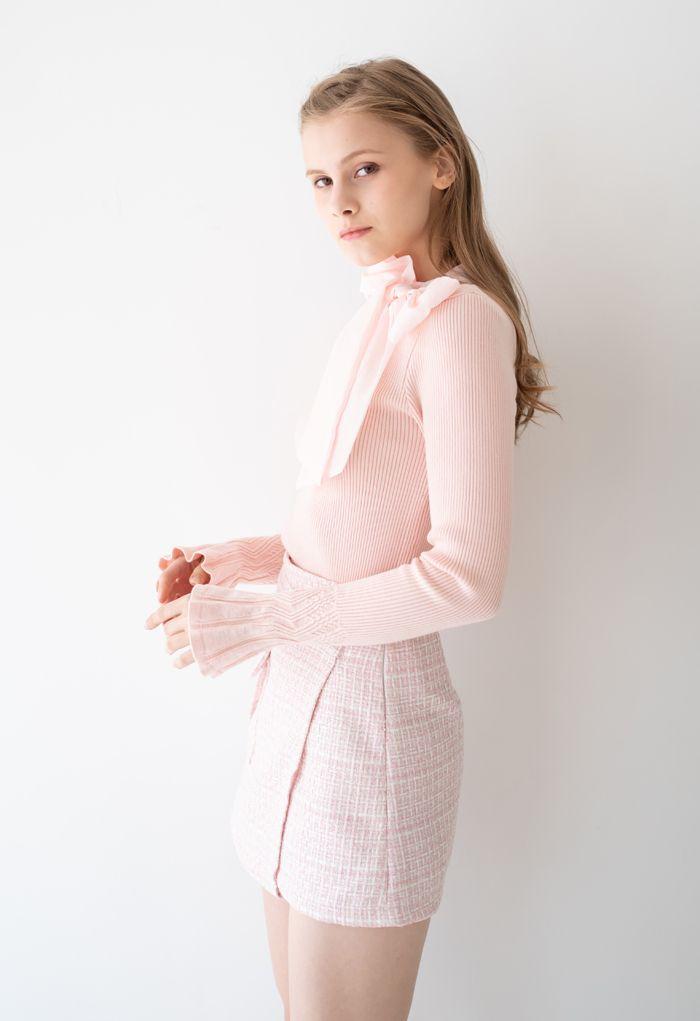 ツイードアシンメトリーミニスカート ピンク