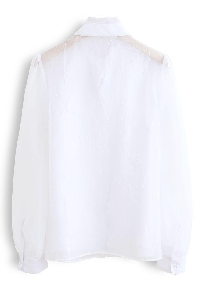 シアーボウノットボタンダウンシャツ ホワイト