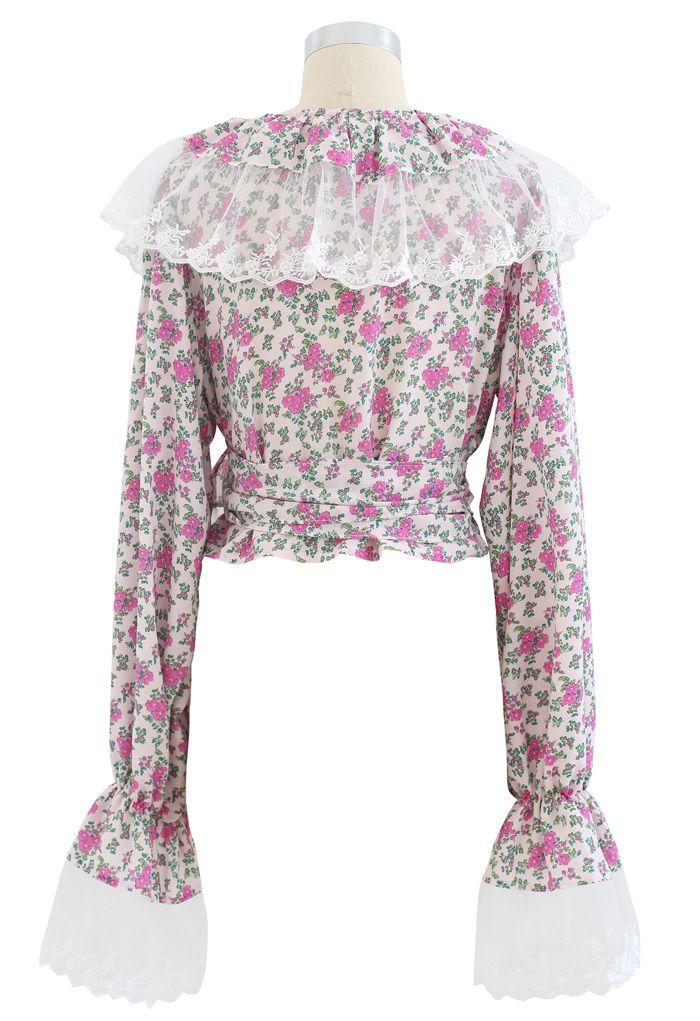 ディッシー花柄トップス ピンク